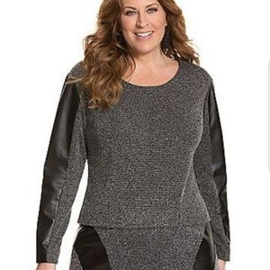 Lane Bryant Tweed Knit Faux Leather Pullover